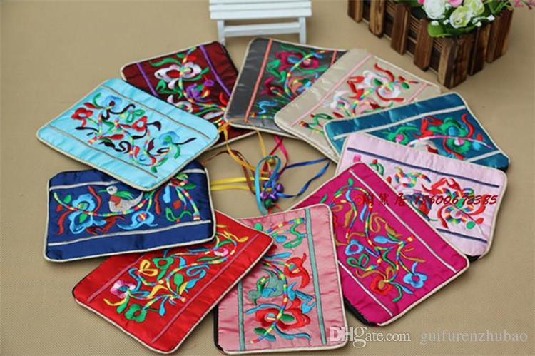 Carino sacchetti di cerniera ricamati etnici piccola campana sacchetto di gioielli sacchetti regalo Decoratiing Cina tessuto di raso borsa portamonete sacchetto di carta di credito casi
