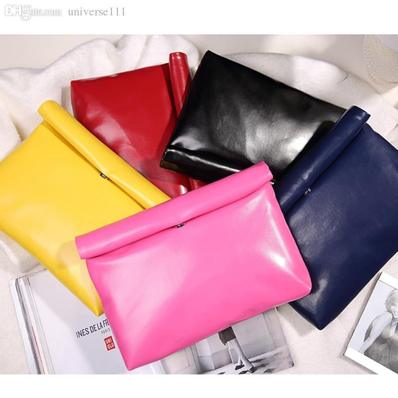 Wholesale-New Low-priced casual fashion simple candy color pu leather envelope bag clutch handbags folding gift party purse 8 colors