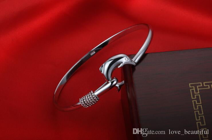 hot gift factory price 925 silver charm bangle Fine Noble mesh Dolphin bracelet Girl / Madam fashion jewelry