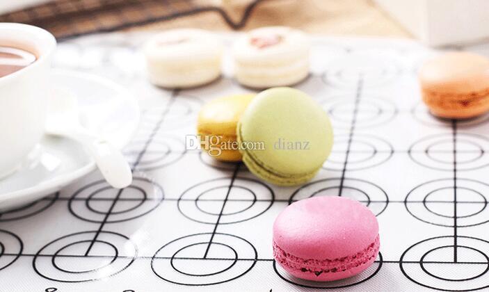 Nuovo arrivo 65 cerchi rotondi fai da te in silicone macarons stuoia o antiaderente fda silicone in fibra di vetro stuoia di cottura, macaron stampo in silicone