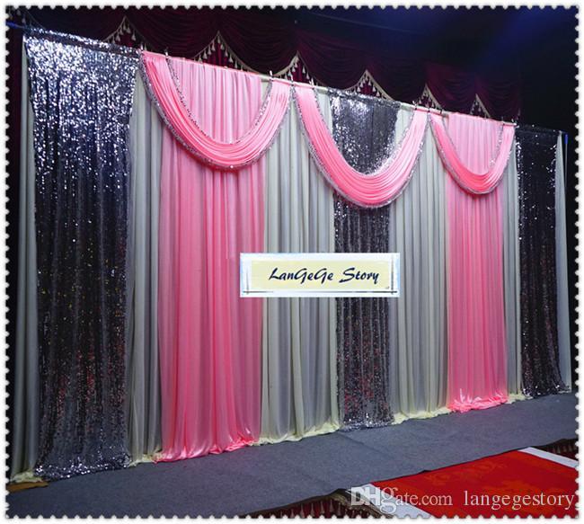Envío gratis / fondo de seda de hielo \ cortinas traseras blancas puras con cortinas rojas y swags de lentejuelas plateadas / 10 pies de altura y 20 pies de ancho