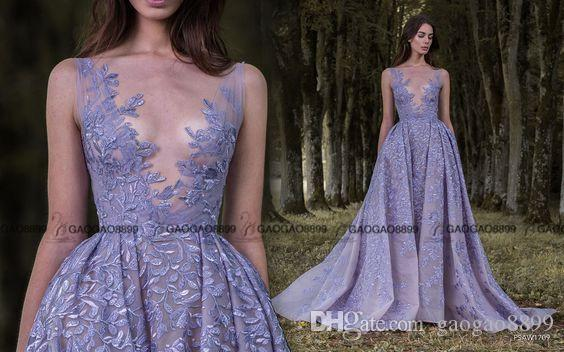 Lavender Illusion Wedding Dress with Plunging Neckline by Paolo Sebastian 2017 Over Skirts Amazing Shiny Detail Wedding Dress Plus Size