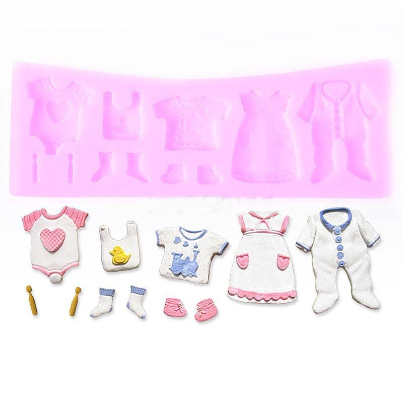 2018 3d Baby Shower Clothesline Silicone Fondant Mould Cake Cookies