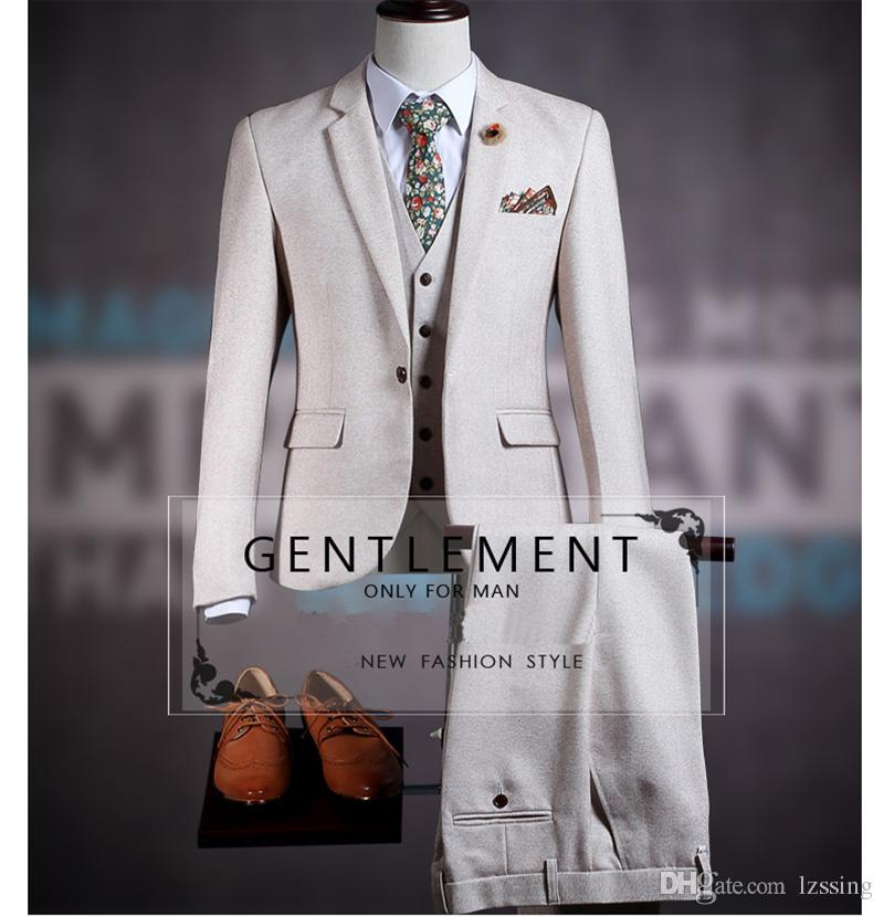 Großhandel 2018 New Style 3 Stück Mann Anzüge Weste Pant Coat Design