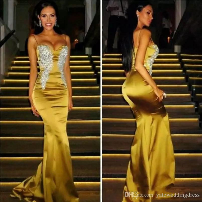 Spaghetti Gold 2017 Prom Dresses Sexy With Applique Evening Dresses Mermaid Back Zipper Custom Made Formal Party Gowns Hot Sale