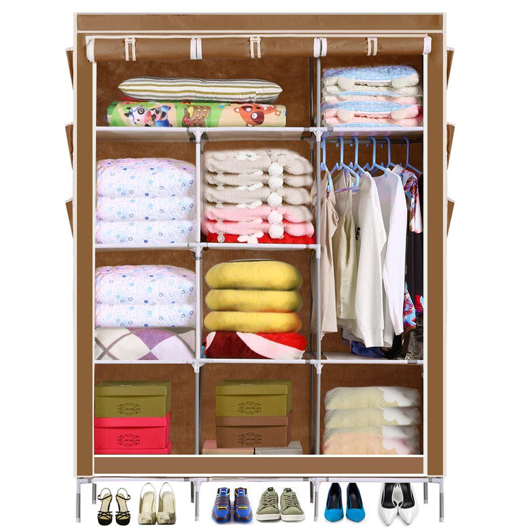 Homdox portable closet storage organizer wardrobe clothes rack with shelves cover pockets shipping from us high quality rack bag china rack cnc suppliers