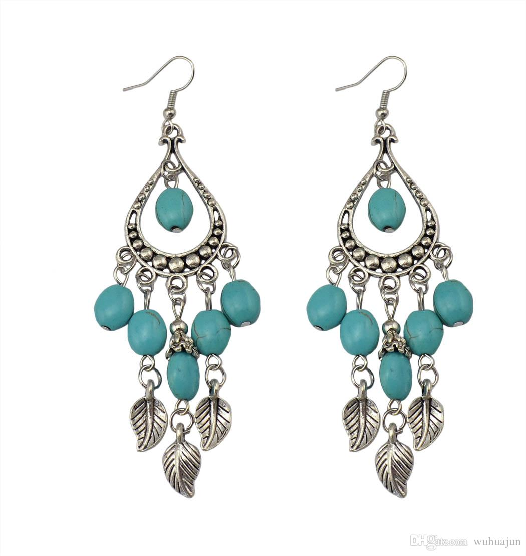 New Arrival Exotic Style Leaves Tassel Earrings Women Turquoise Pendant Earrings Female Antic Silver Long Fish Earring 5PRS Cheap Earring