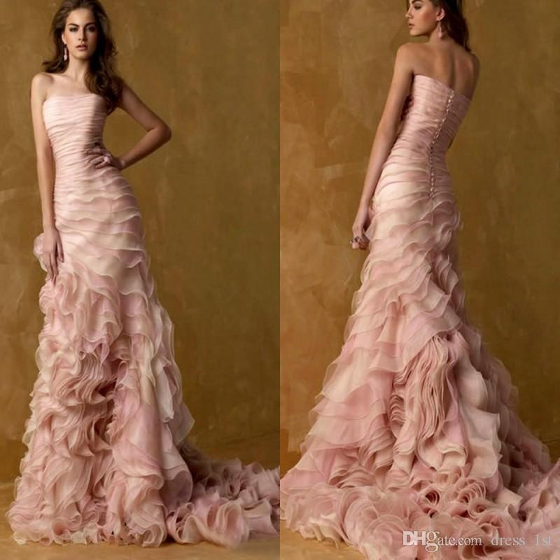 ca7e300ad02a Romantic 2017 Blush Pink Mermaid Wedding Dresses Modest Strapless Tiered  Cascading Ruffles Long Bridal Gowns Custom Made China EN103111 Lace Bridal  Gowns ...