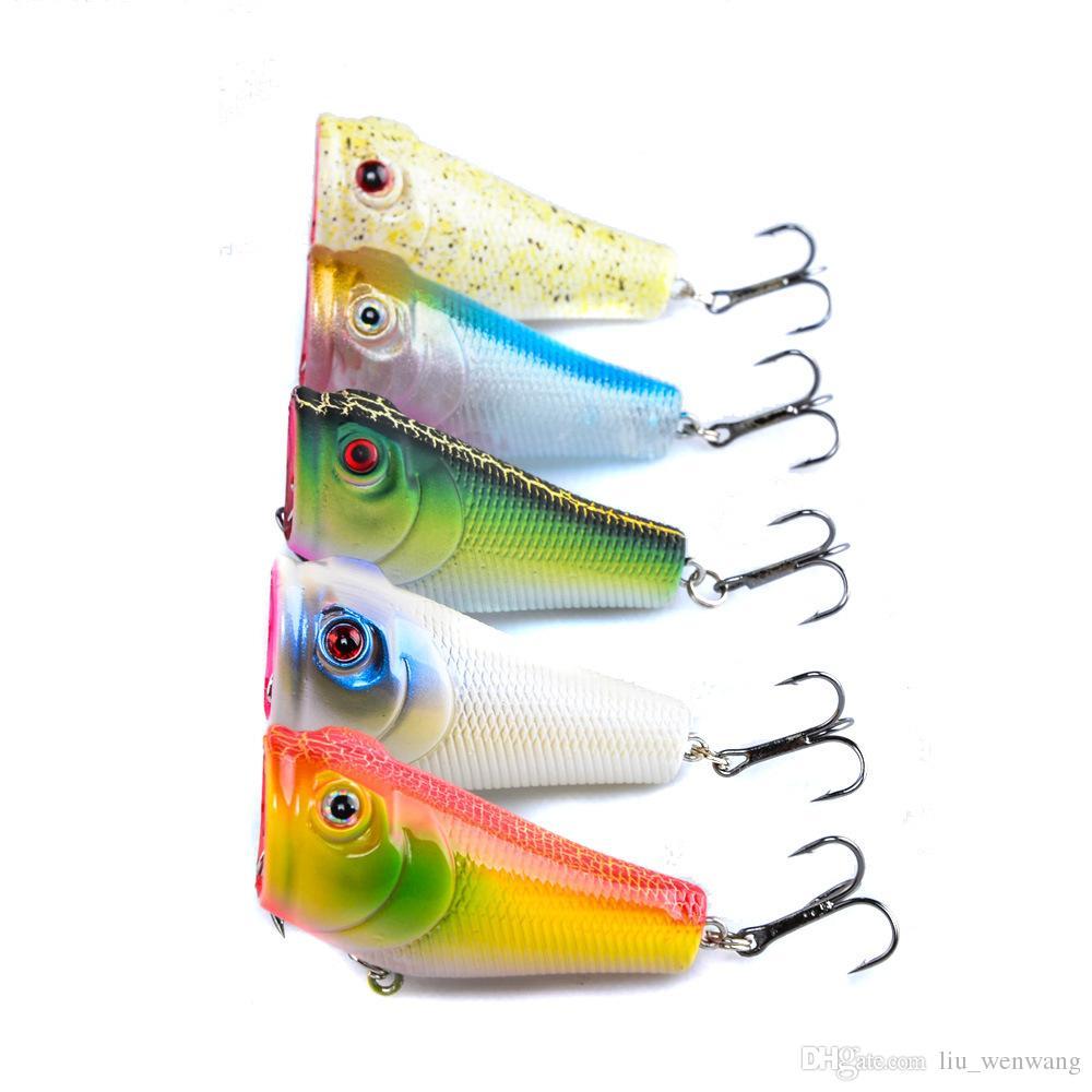 5-цвет 5 см 8 г Поппер жесткий пластиковые приманки рыболовные крючки рыболовные крючки 3D глаза рыболовные приманки 6 # крюк искусственные приманки Pesca снасти аксессуары ..