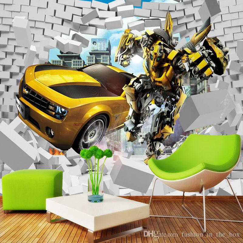 Transformers Photo Wallpaper Bumblebee Wall Mural 3d Bricks Wallpaper Boy  Bedroom Living Room Decor Tv Backdrop Wall Designer Wallpaper Car Desktop  ...