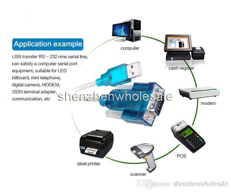 Novo CH340 USB para RS232 Porta COM Serial PDA 9 pinos Cabo Adaptador DB9 Suporte Windows7 Atacado