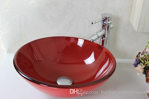 2019 Red Round Glass Sink Tempered Glass Vessel Sink With Hot And