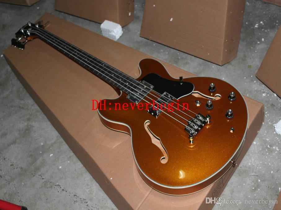Wholesale Custom hollow 4 strings bass Golden Electric Bass Guitar EB-2 BASS Guitars China guitar