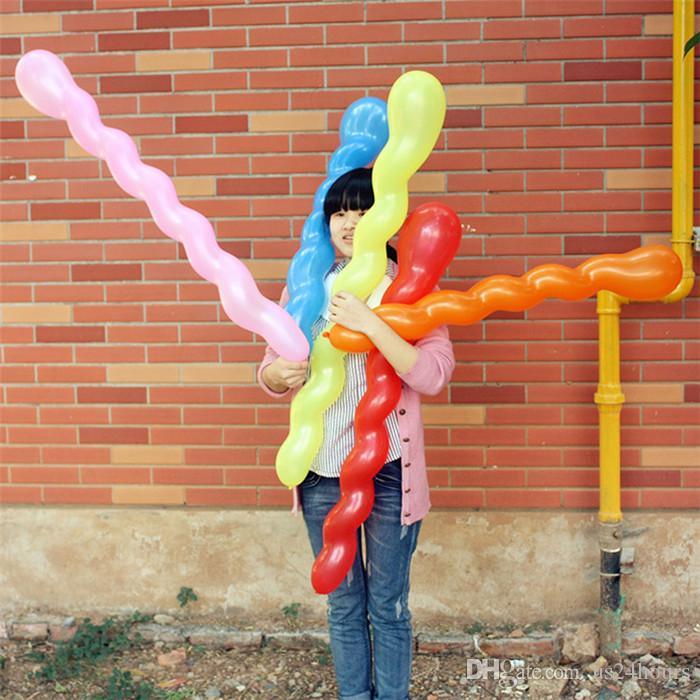 المسمار الملتوية اللاتكس بالون دوامة سماكة بالون طويل شريط ktv حزب اللوازم قطاع شكل بالون نفخ اللعب