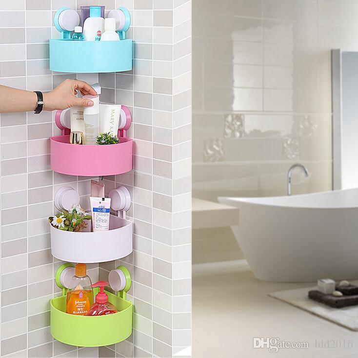 2018 Multifunctional Plastic Bathroom Storage Shelf Sucker Wall ...