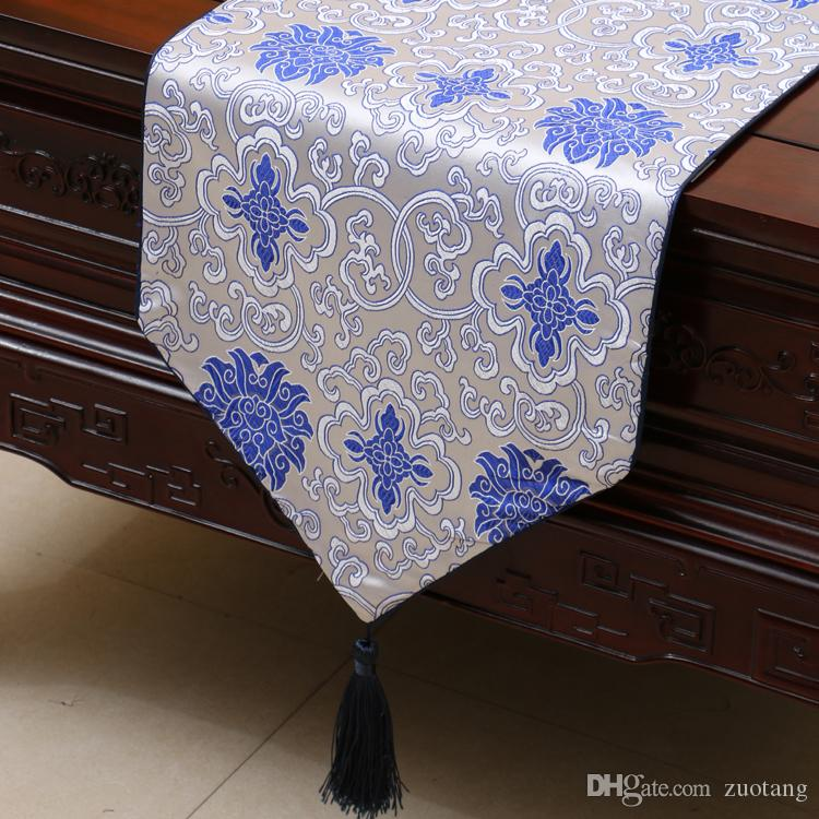 Chiński styl szczęśliwy kwiat stół biegacz luksusowy moda jedwabny brokat prostokątny stół tkaniny wysokiej jakości jadalnia podkładki stołowe podkładka 200x33
