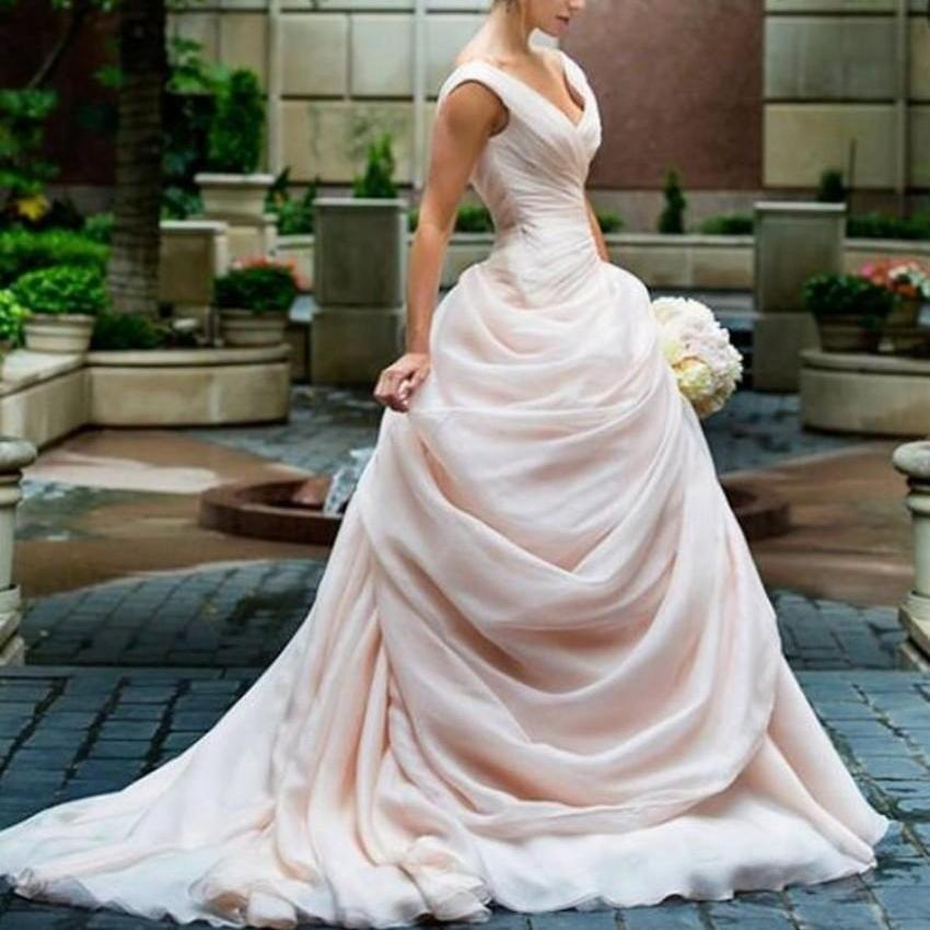 Drop Sleeve Wedding Gowns With: Vintage Drop Waist Wedding Dress Blush Pink Ball Gown V