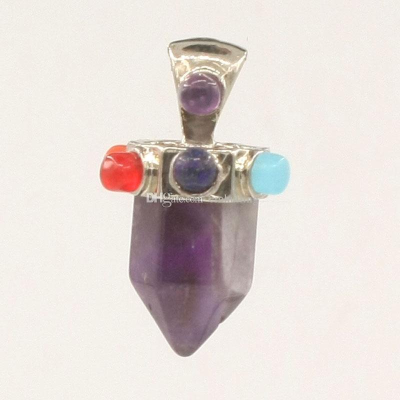 7 Granos de Chakras Piedras Stubby Point Colgante Mujeres Ankh Yoga Cristales Reiki Amuleto Curación Equilibrio Colgante Productos de Cuidado de Salud Holístico