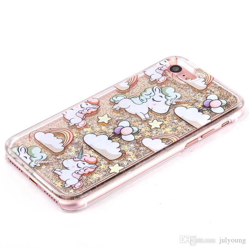 Case For Iphone 11 XR XS MAX X 8 7 6 Note 9 Liquid Quicksand Horse Soft TPU Unicorn Sparkle Star Dynamic Powder Magical Glitter Cover Bling