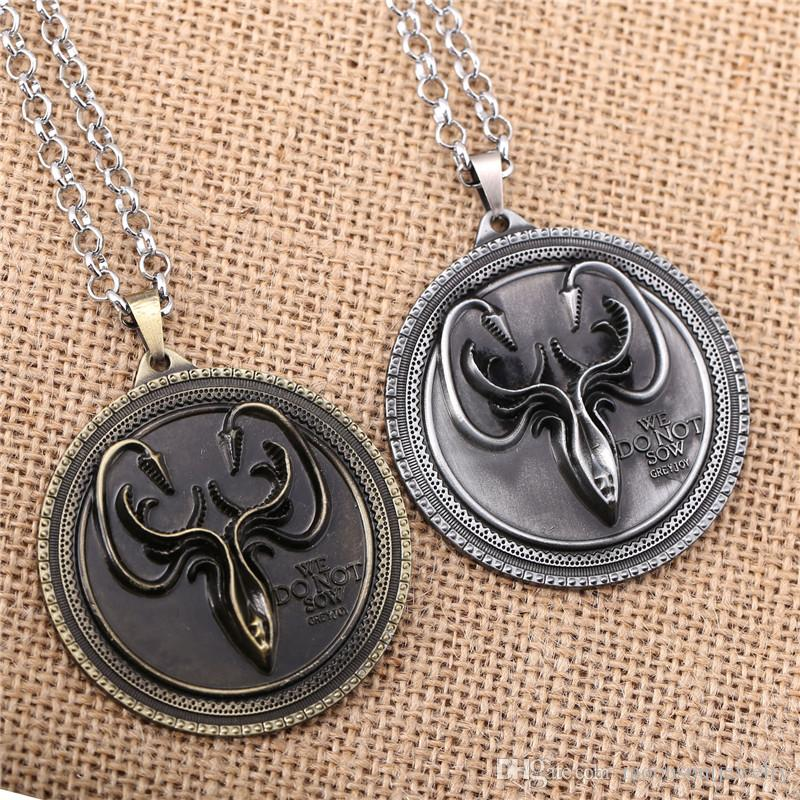 Hot Movie Game of Thrones Cosplay House Greyjoy Cuttlefish Pendant Necklace Jewelry As GiftSize:5.5cm*5.5cm,length:60cm