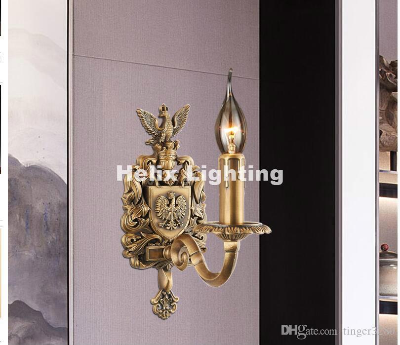 Freies Verschiffen W11cm H24cm antike Wand-Lampen-Wohnzimmer-Wand-Licht Lamparas de pared applique murale Leuchte des Messing-E14 LED