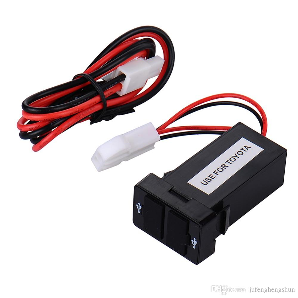 Çift 2 USB Araç Şarj 12 V 24 V USB Portu Hızlı Şarj Adaptörü 5 V Smartphone için Toyota Corolla Camry Rav4 Yaris Car-Charger