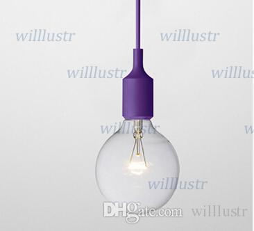 Art Decor Silicone E27 Suspension Plafonnier Ampoule Titulaire Luminaire suspendu Base de luminaire Socket Gel de silice moderne rétro coloré