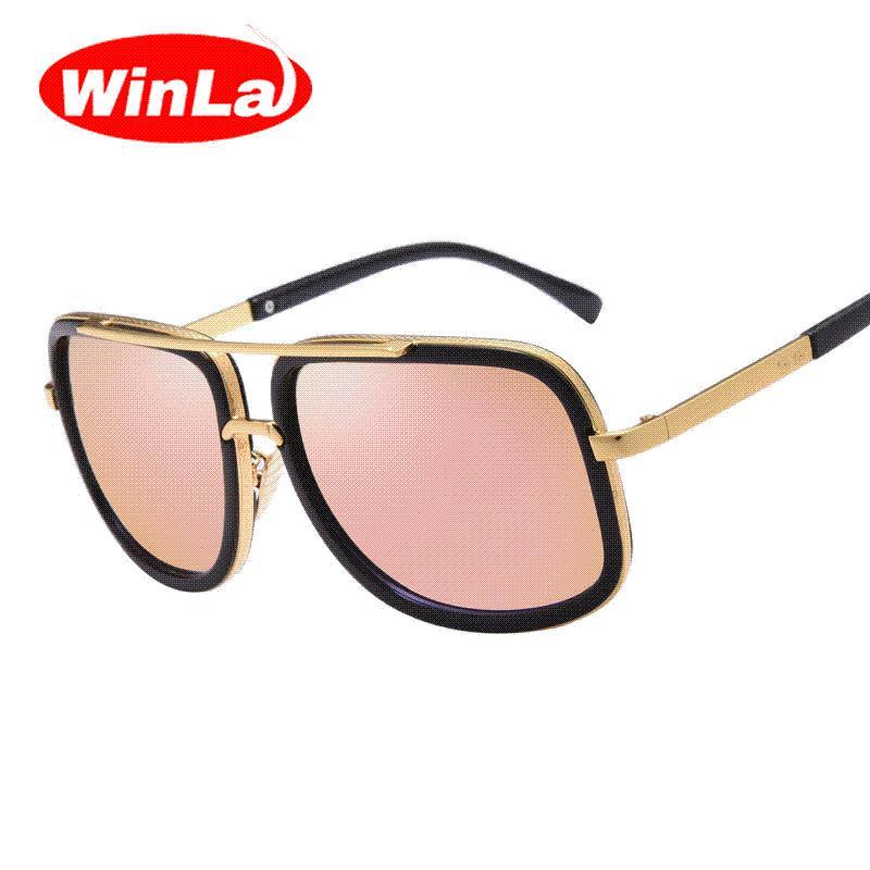 6a57fbe67e Compre Gafas De Sol De Lujo Winla Moda 2016 Más Nuevo Diseñador De La Marca  De Metal Cuadrado De Los Vidrios De Sun De Los Hombres De Las Mujeres Gafas  De ...