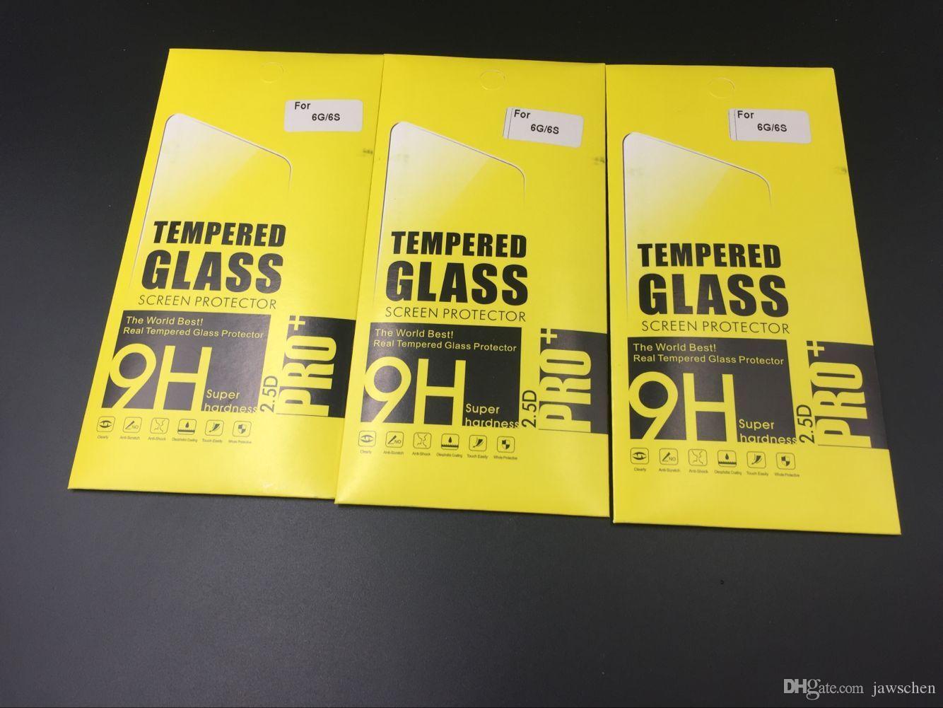 200 adet / grup 0.3mm Kalınlığı 9 H Premium patlamaya dayanıklı Shattetproof Temperli Cam Ekran Koruyucu iPhone 5 6 6 s artı 7 7 artı kutu ile