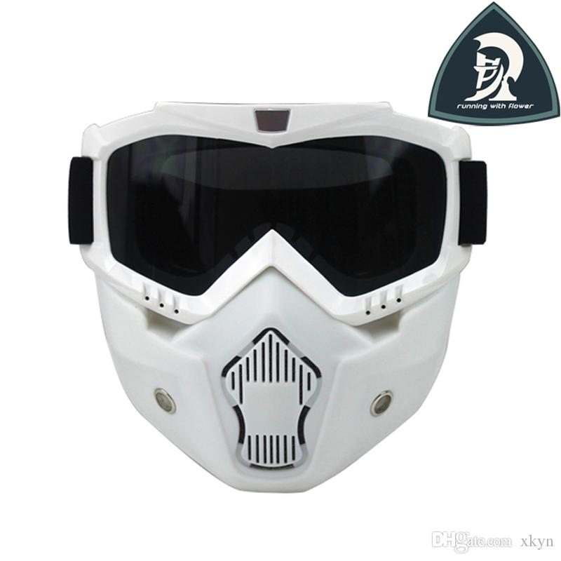 57e36faefa 2016 New Design Vintage White Riding Detachable Modular Face Mask Shield  Goggles For Motorcycle Open Face Helmet 3 4 Helmet Over The Glasses  Motorcycle ...