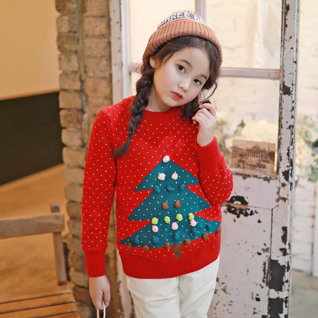 Stereo Ball Girls Shirt, Thick Sweater, Big Children Red And Grey ...