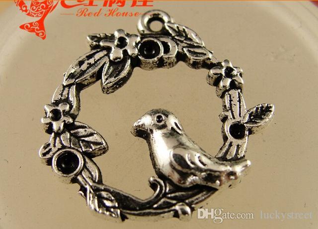 A3917 21*22MM A bird manual DIY jewelry Korea accessories wholesale tibetan silver charms for bracelet, vintage pendants for necklace