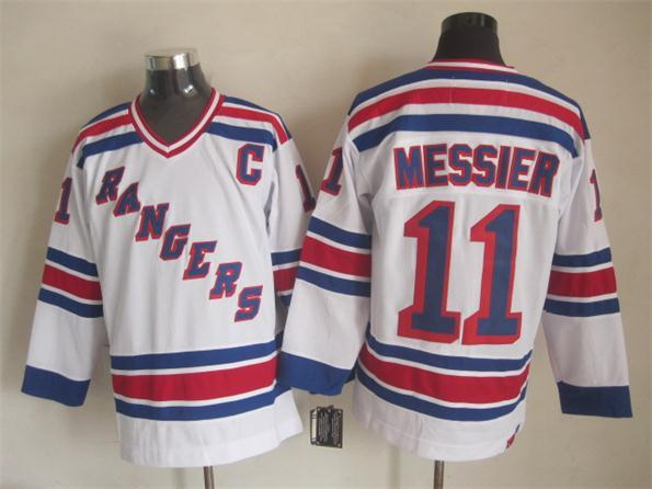 best sneakers 61a39 ab0bd new york rangers 11 mark messier white ccm vintage throwback ...