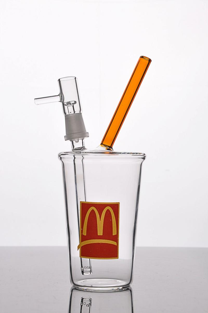Small McDonalds Bubbler Cup Cheap Beaker Bong Water Pipe Dab Recycler Oil Rig with Downstem Cheech Mini Honey Cup