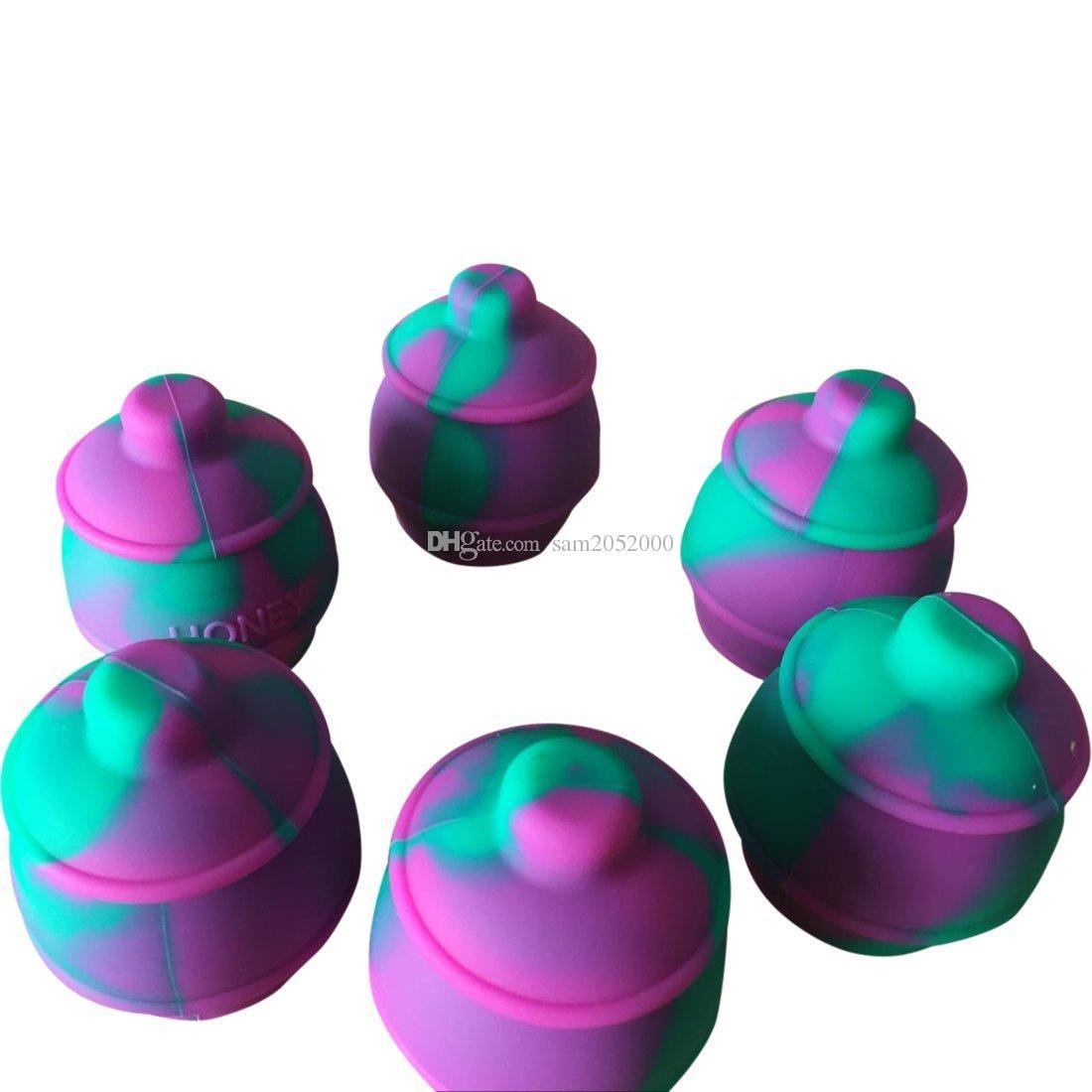 10 pçs / lote Nonstick Silicone Recipiente Jar Caixa Dab Bee Insetos 35ml Recipiente de Cera de Silicone Dabs Dabs