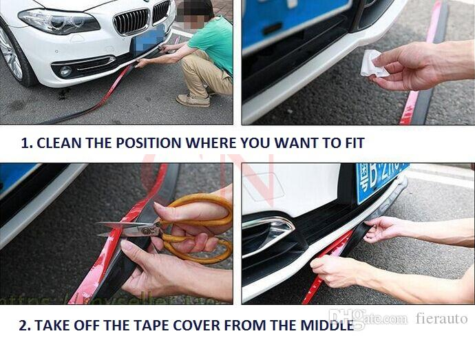 gomma di fibra di carbonio Paraurti anteriore Lip Splitter Chin Spoiler Corpo Kit Trim Volkswagen VW