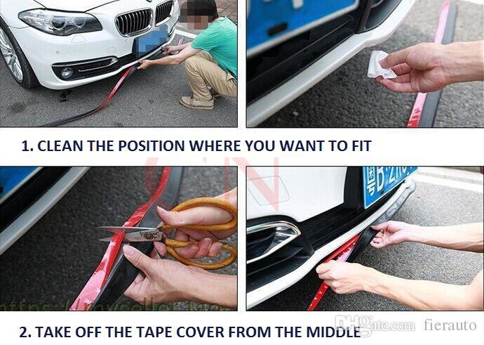 Kit de goma de fibra de carbono del parachoques delantero del labio Splitter Chin Alerón Trim Body para Volkswagen VW