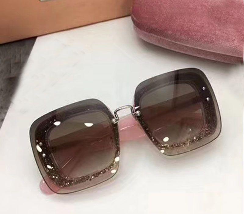 Nouvelle mode femmes designer de marque lunettes de soleil SMU01R cadre de cristal de lunettes de soleil carré avec bling sunglass grand cadre de mode avec étui rose