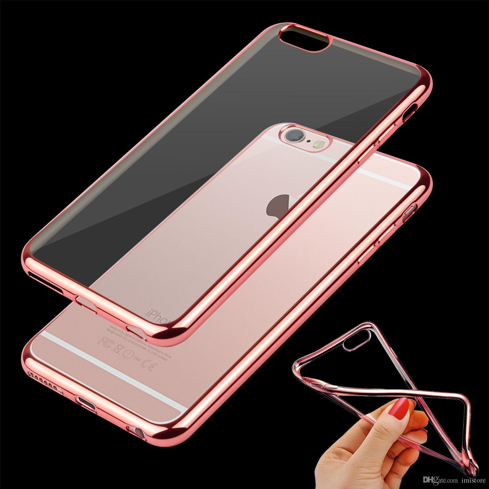 For IPhone 6 6S Metal Electroplated Case Ultra Thin TPU Gel Skin Transparent Clear Soft Phone Case Cover For Apple IPhone 6 Plus Electroplated Case IPhone 6