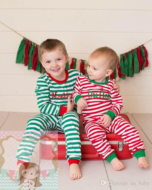 Kids Christmas Pajamas.Baby Boys Girls Christmas Pajamas Kids Cotton 2pcs Set Children Long Sleeve Xmas Striped Deer Print Night Wear