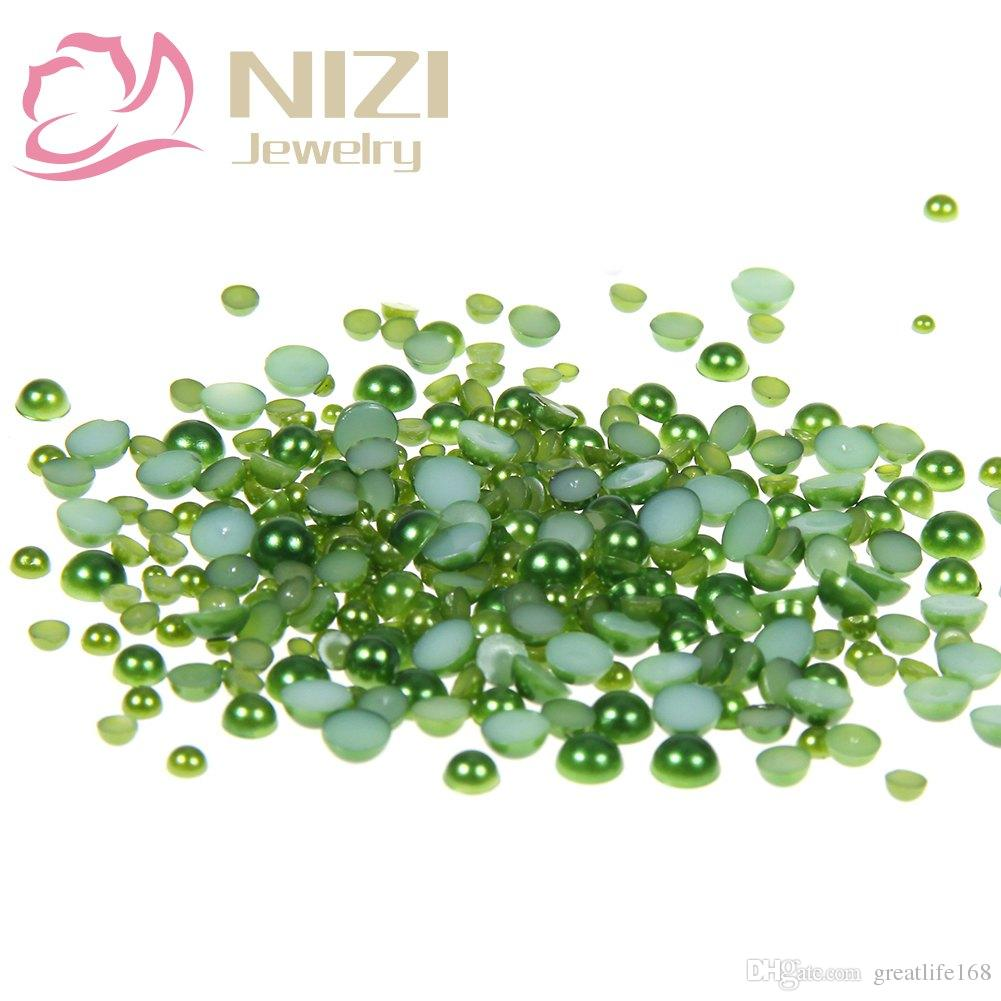 912dccf155 Dark Green Half Round Craft ABS Imitation Pearls 10-14mm Scrapbook Resin  Glue On Beads Trims For 3D Nail Art Charms Accessories
