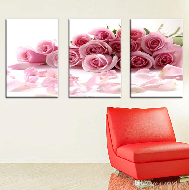Discount Three Panle Modern Wall Painting Pink Rose Canvas Wall Art ...