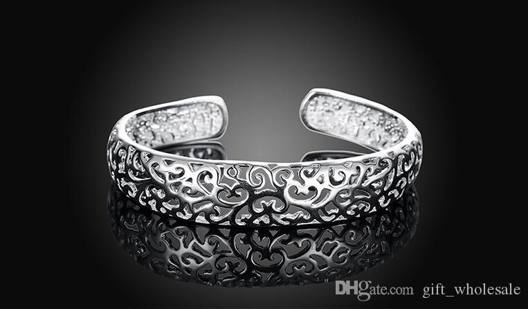 Beautiful hot 925 Sterling Silver plated fashion jewelry charm hollow out bangle bracelet