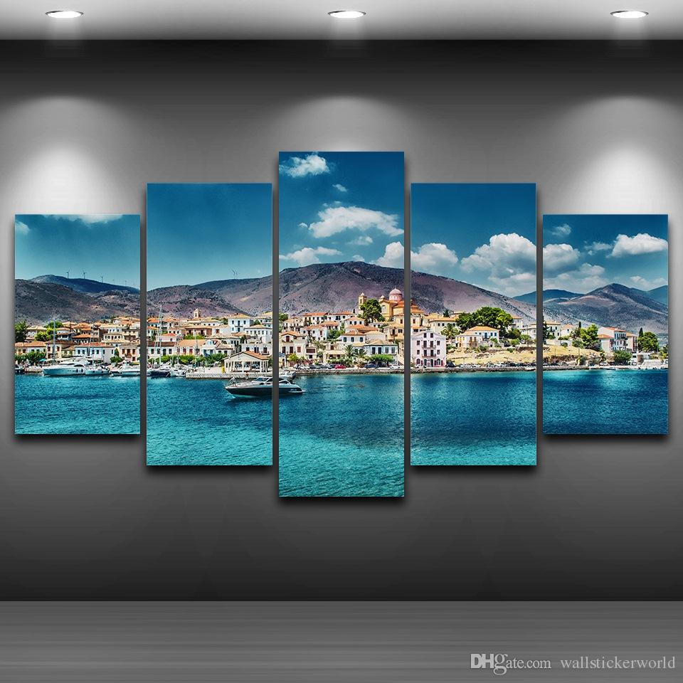 Seaside Town Framed wall art picture Artistic Printed Drawing on Canvas Printed Home Decor Spray Oil Painting Decoration