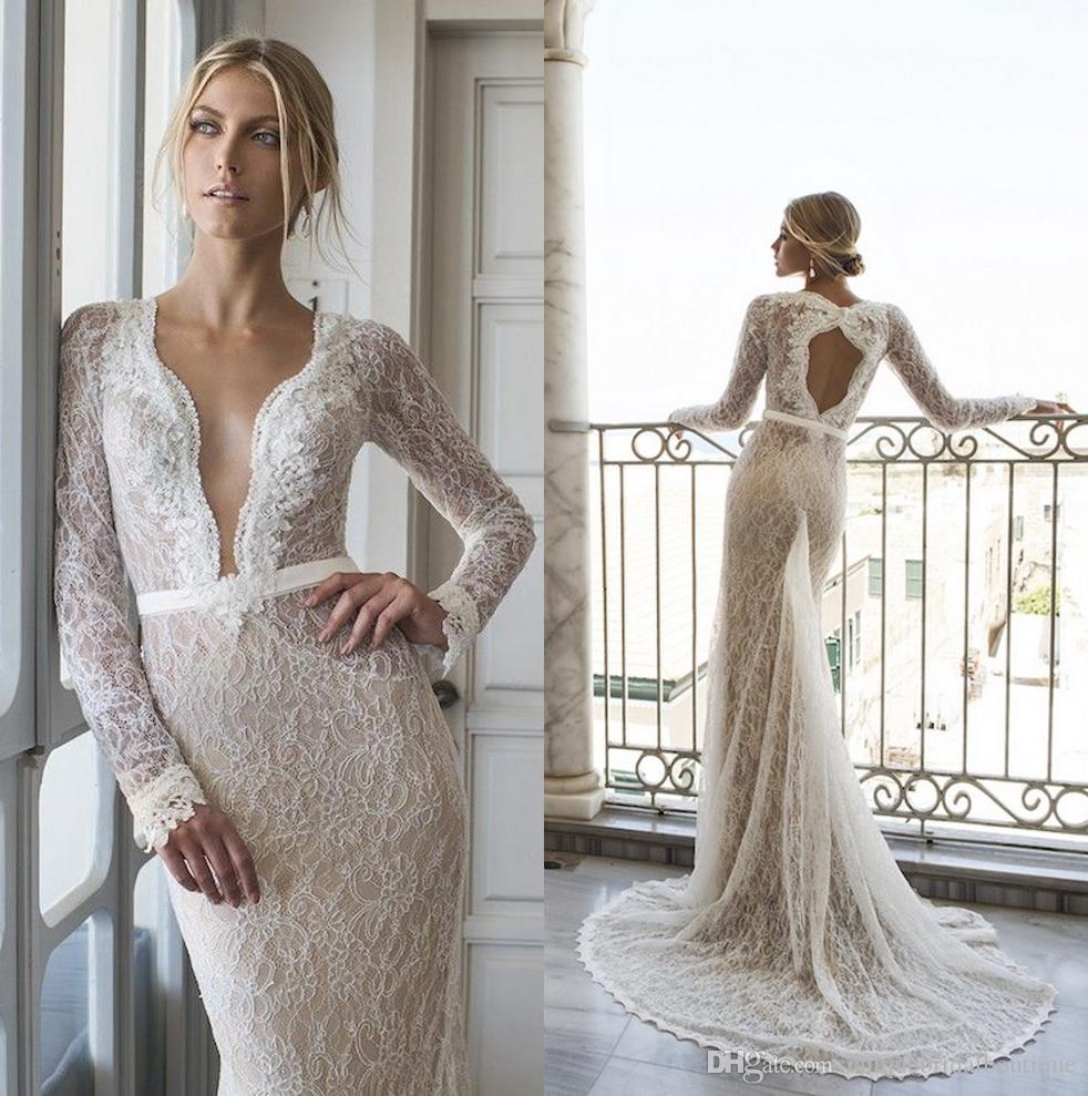 2016 Lace Wedding Dresses Long Sleeves With Scalloped V Neck And ...