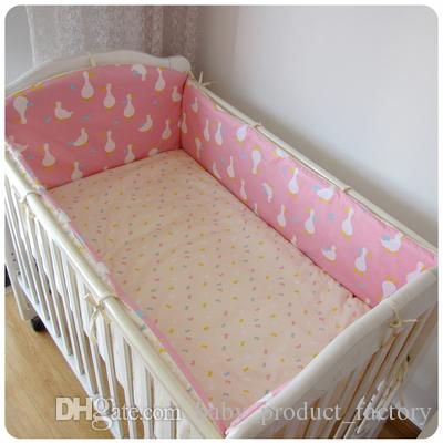 Promotion! baby crib bedding set 100% cotton curtain crib bumper baby cot sets bumpers+sheet+pillow cover