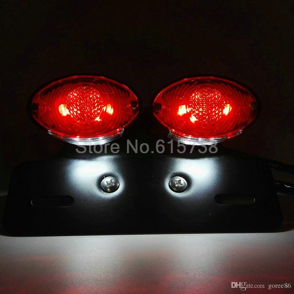 Motorrad-Lichter Motorrad-Rücklicht Dual Cat Eye Custom Kennzeichenhalter chorme rot