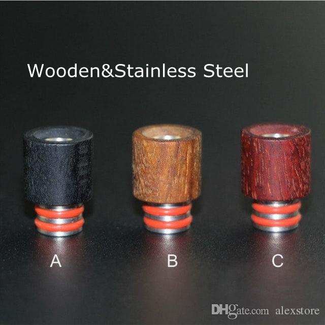 Newest Wooden Drip Tips 510 Red Wood Stainless Steel Mouthpiece SS Drip Tip Fit Box Mod Atoimzers Ecigs Tanks RDA Atomizer Vape DHL