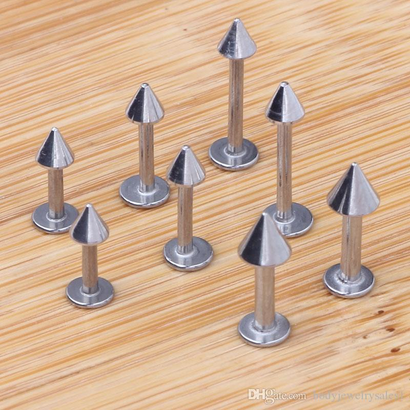 lip piercing 100pcs/lot mix 6/8/10/12mm stainless steel body jewelry Cone lip ring labret bar