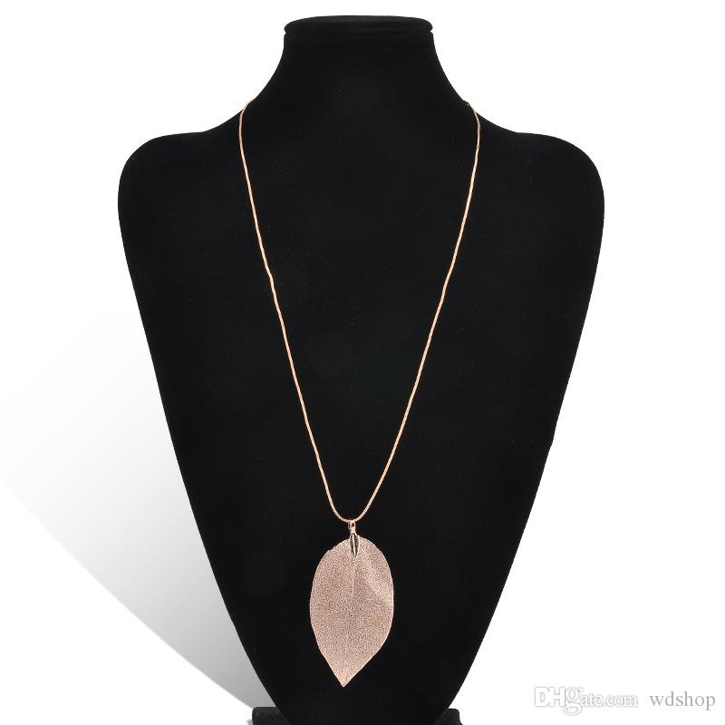 Fashion Jewelry Design 24k Gold Silver Plating Natural Real Leaf Long Necklace Pendant Sweater Chain Clavicle Necklace For Women